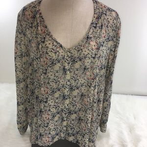Pin and Needles Chiffon Blouse Top Anthropologie